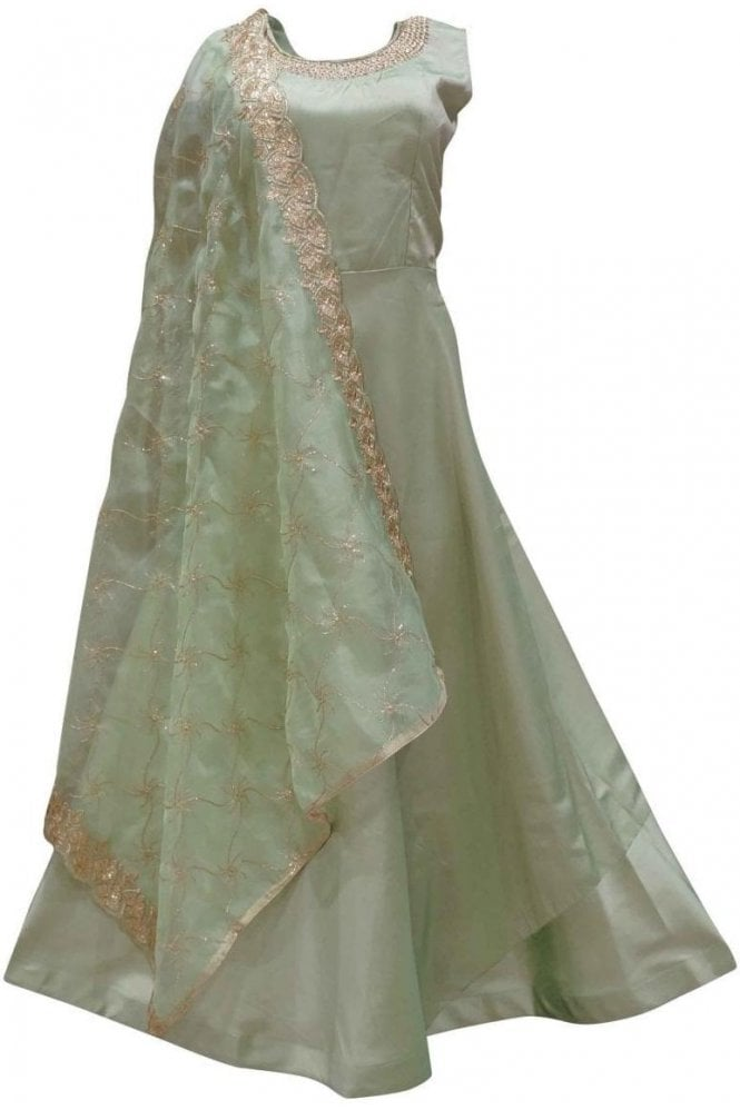 WPD19128 Olive Green and Gold Designer Churidar Suit Gown