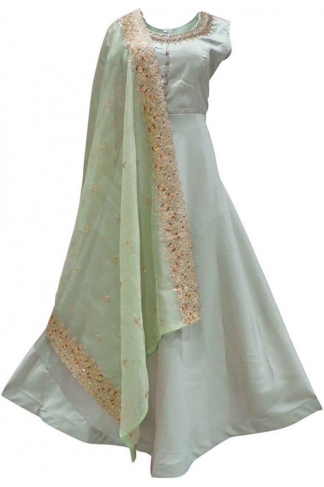 WPD19130 Green and Gold Designer Churidar Suit Gown
