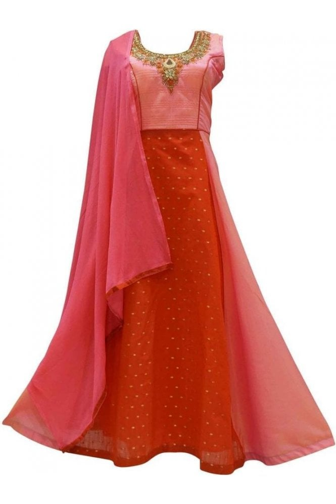 WPD19134 Pink and Red Designer Churidar Suit Gown