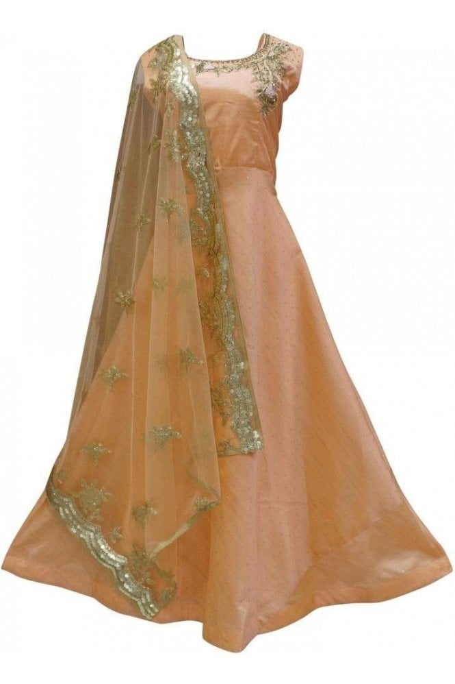 WPD19141 Peach and Gold Designer Churidar Suit Gown