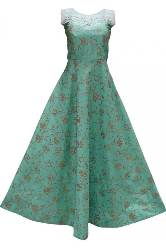 WPD19160 Sea Green and Gold Designer Churidar Suit Gown