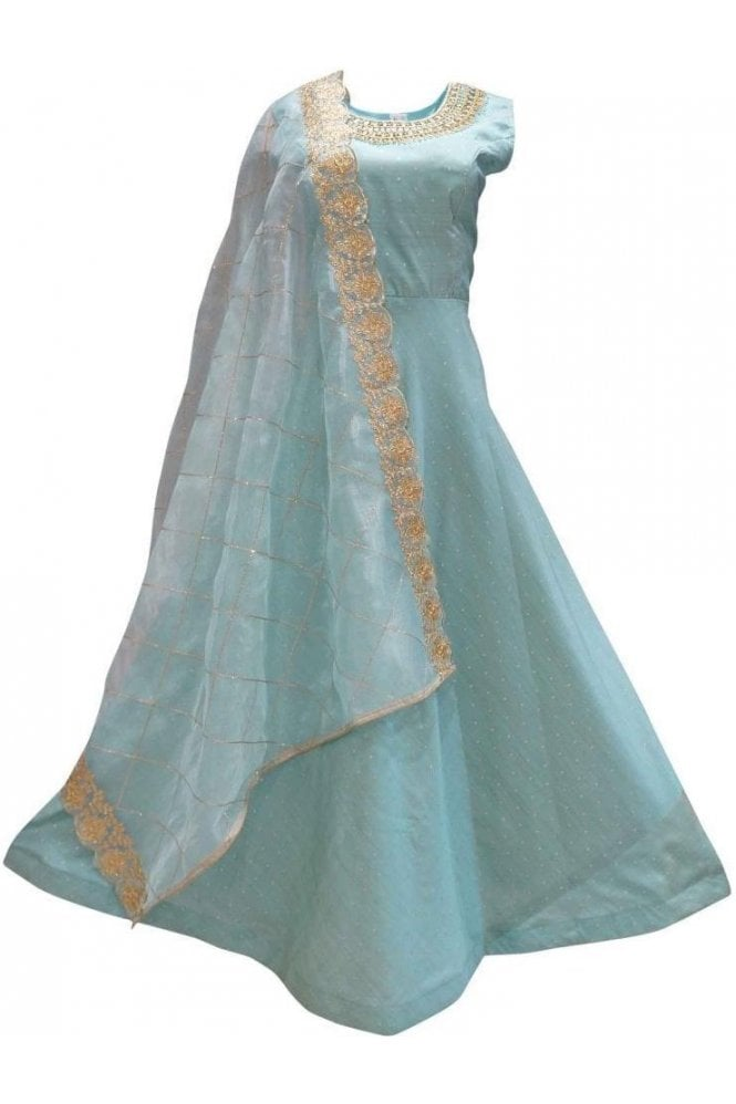 WPD19161 Blue and Gold Designer Churidar Suit Gown
