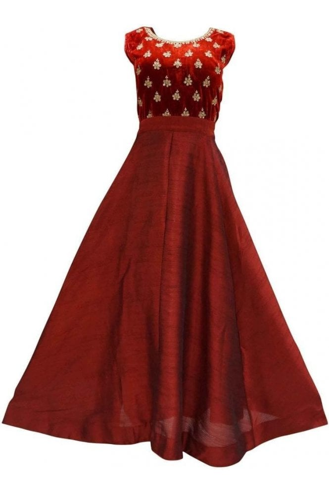 WPD19167 Maroon and Gold Designer Churidar Suit Gown