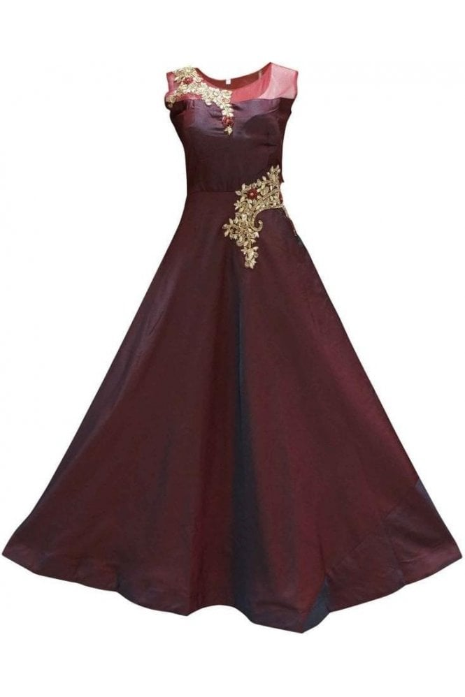 WPD19175 Maroon and Gold Designer Churidar Suit Gown