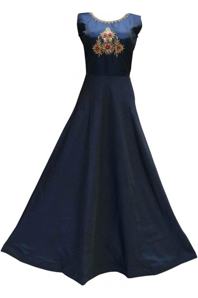 WPD19176 Navy Blue and Red Designer Churidar Suit Gown