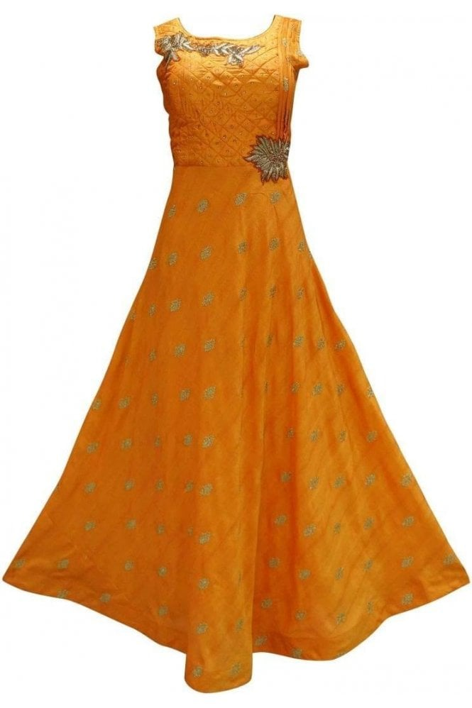 WPD19194 Orange and Gold Designer Churidar Suit Gown