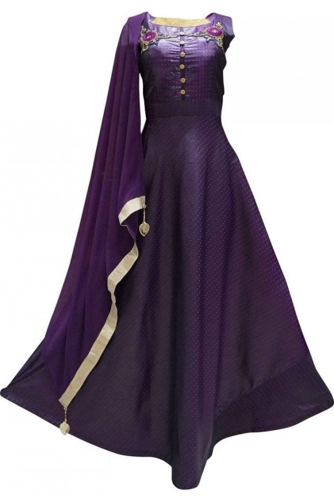 WPD19220 Purple and Gold Designer Churidar Suit Gown