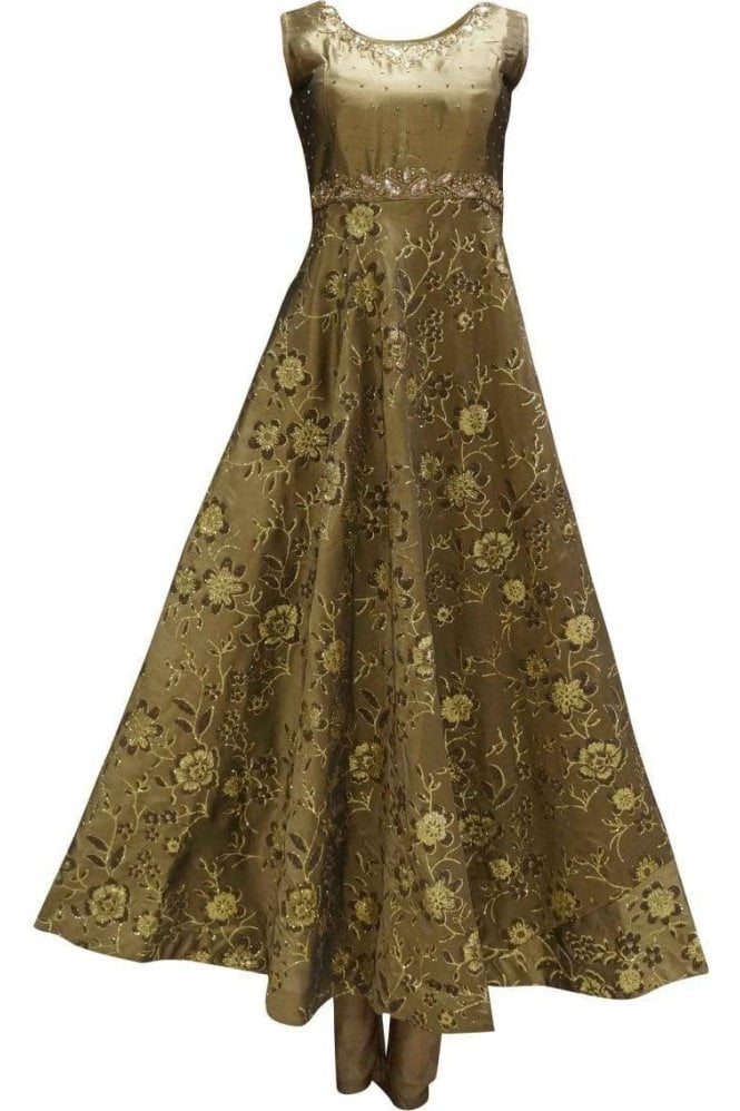 WPD19221 Gold and Gold Designer Churidar Suit Gown