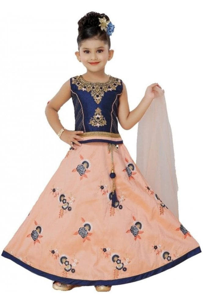GLC19151 Navy Blue and Peach Girl's Lengha Choli