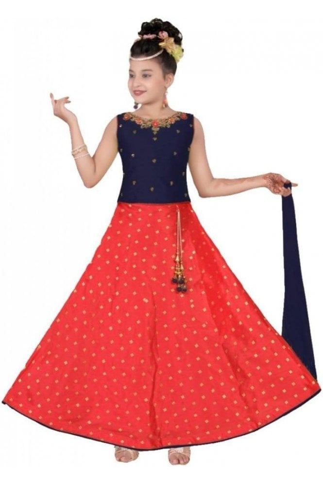 GLC19155 Navy Blue and Red Girl's Lengha Choli