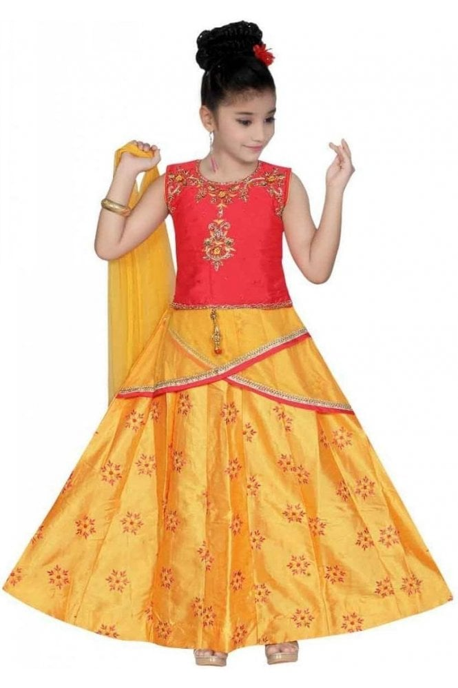GLC19157 Pink and Yellow Girl's Lengha Choli