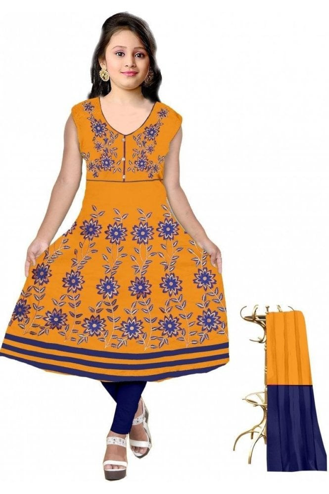 Mustard Yellow and Navy Blue Girl's Churidar Suit
