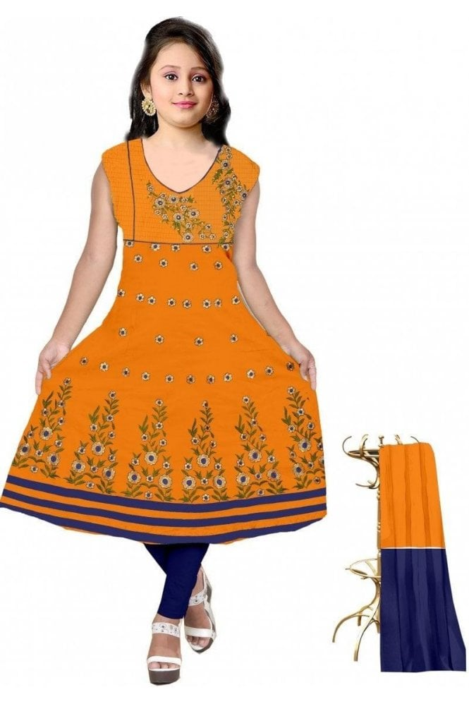 GCS19611 Mustard Yellow and Blue Girl's Churidar Suit
