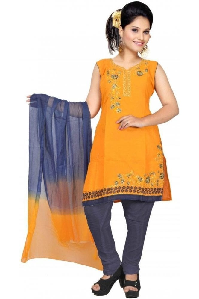 WCS19382 Yellow and Navy Blue Designer Churidar Salwar Kameez