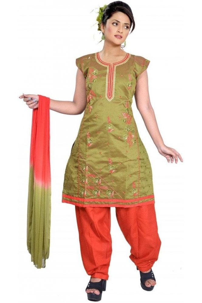 WCS19398 Green and Red Designer Churidar Salwar Kameez