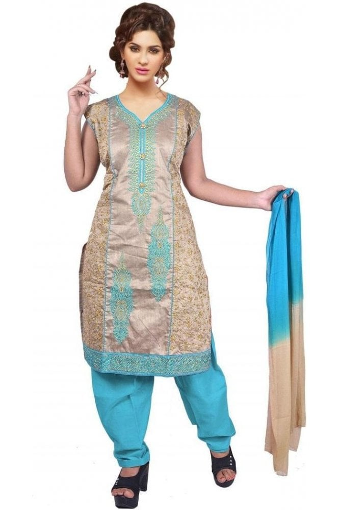 WCS19413 Grey and Blue Designer Churidar Salwar Kameez