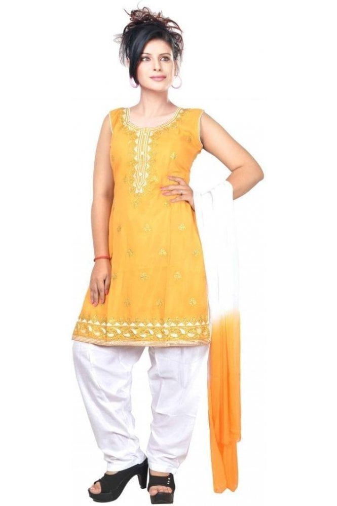 WCS19421 Yellow and Ivory Designer Churidar Salwar Kameez