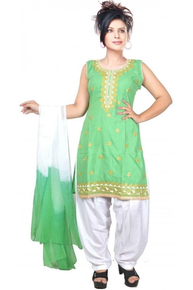 WCS19423 Green and Ivory Designer Churidar Salwar Kameez