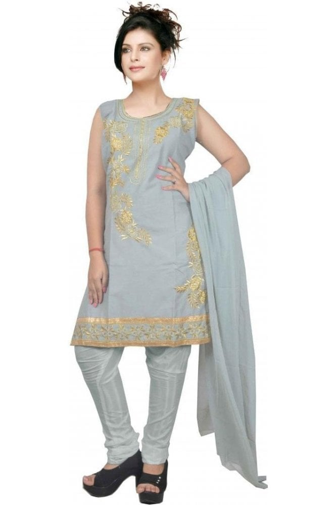 WCS19424 Grey and Gold Designer Churidar Salwar Kameez
