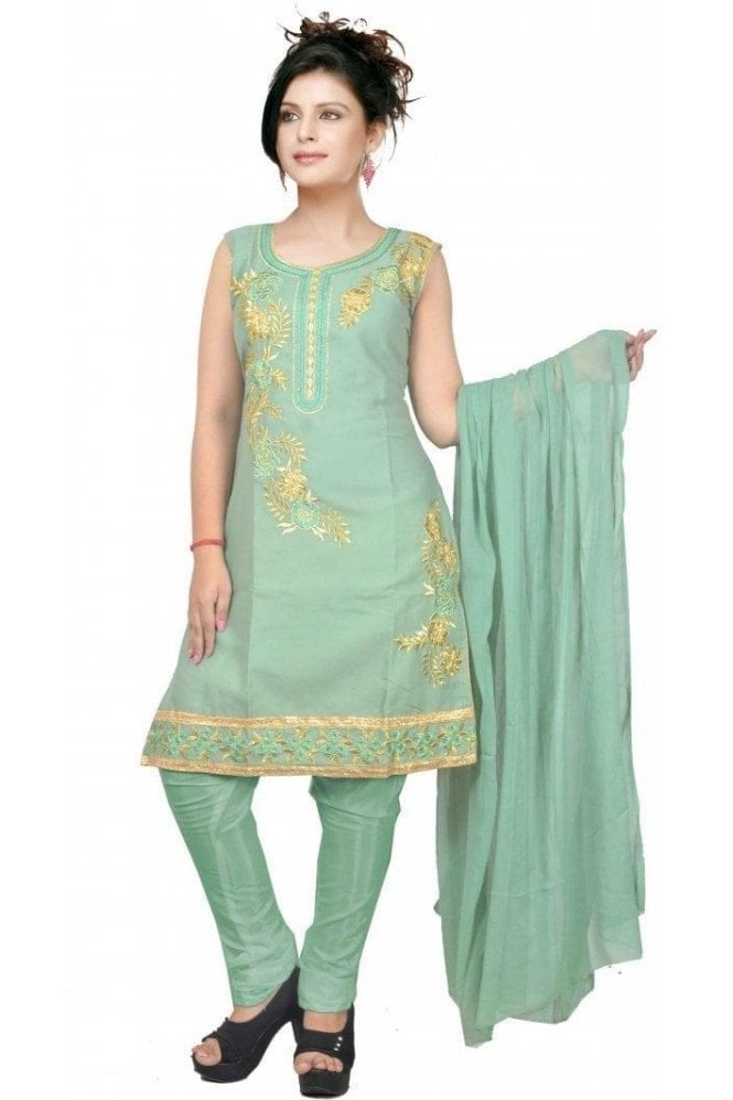 WCS19426 Green and Gold Designer Churidar Salwar Kameez