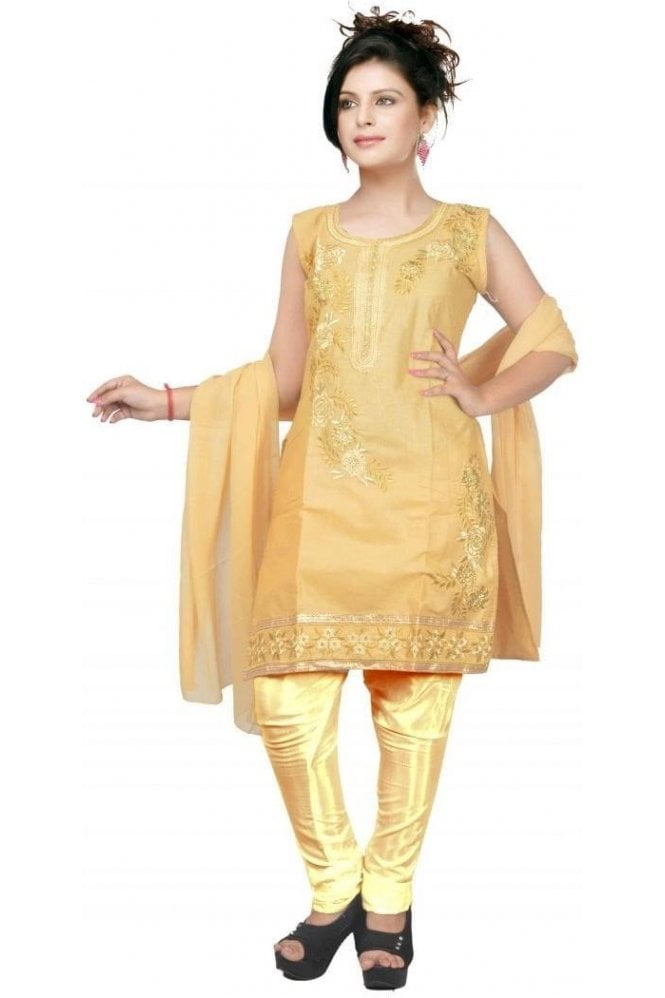 WCS19427 Beige and Gold Designer Churidar Salwar Kameez
