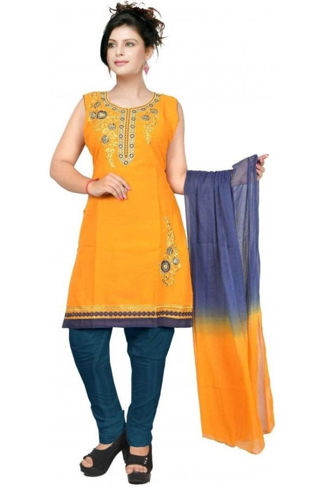 WCS19431 Mustard Yellow and Navy Blue Designer Churidar Salwar Kameez