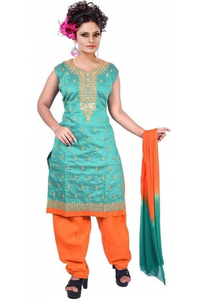 WCS19468 Green and Orange Designer Churidar Salwar Kameez
