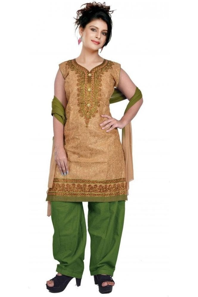 WCS19483 Beige and Green Designer Churidar Salwar Kameez