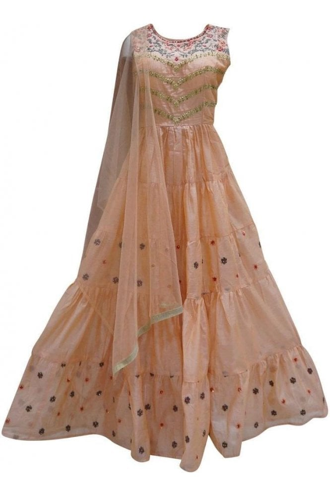 WPD19254 Peach and Gold Designer Churidar Suit Gown