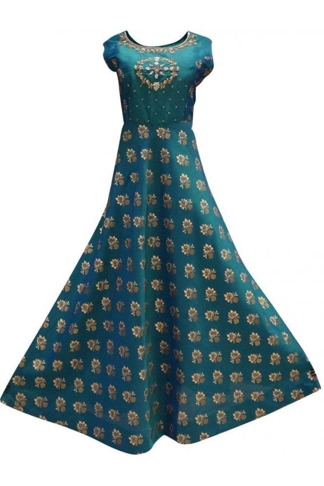 WPD19259 Green and Gold Designer Churidar Suit Gown