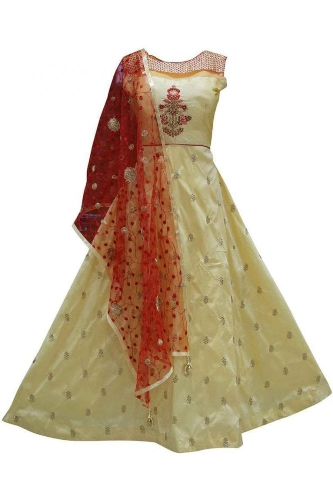 WPD19269 Yellow and Red Designer Churidar Suit Gown
