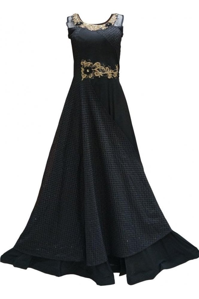 WPD19233 Black and Gold Designer Churidar Suit Gown