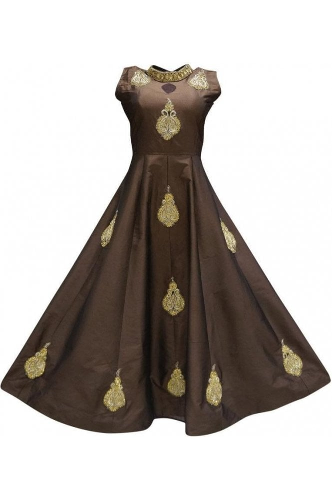 WPD19272 Brown and Gold Designer Churidar Suit Gown