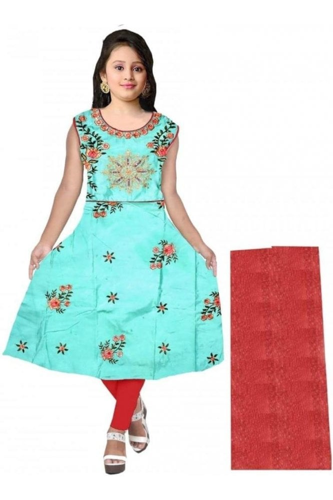 GCS20009 Green and Red Girl's Churidar Suit