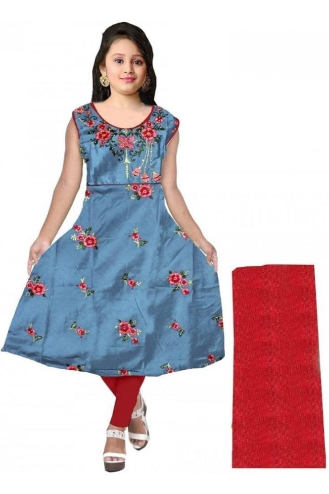 GCS20013 Grey and Red Girl's Churidar Suit