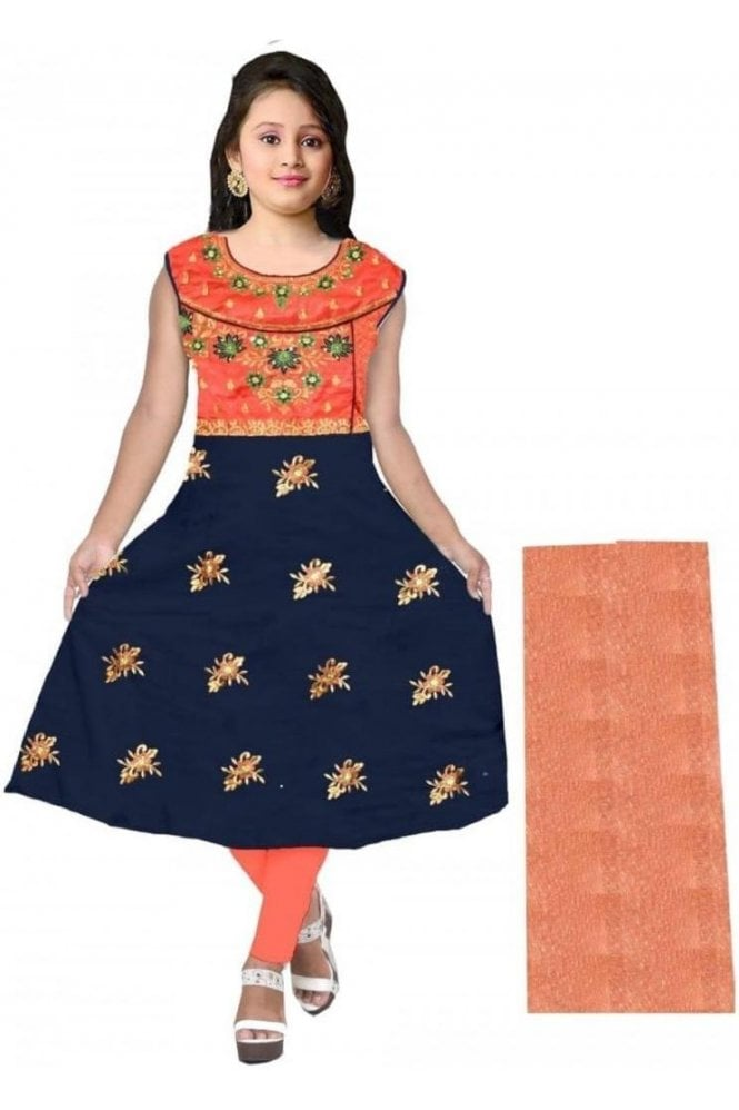 GCS20023 Pink and Navy Blue Girl's Churidar Suit