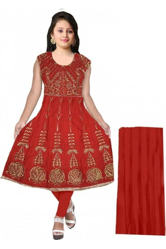 GCS20059 Red and Gold Girl's Churidar Suit