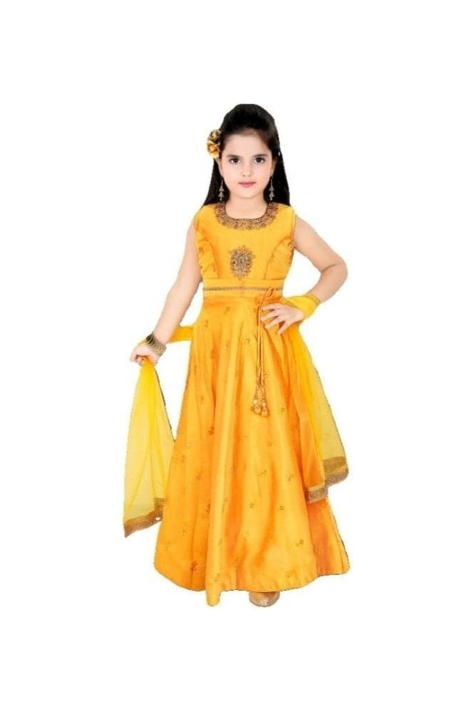 KCS20012 Mustard Yellow and Gold Girl's Churidar Suit