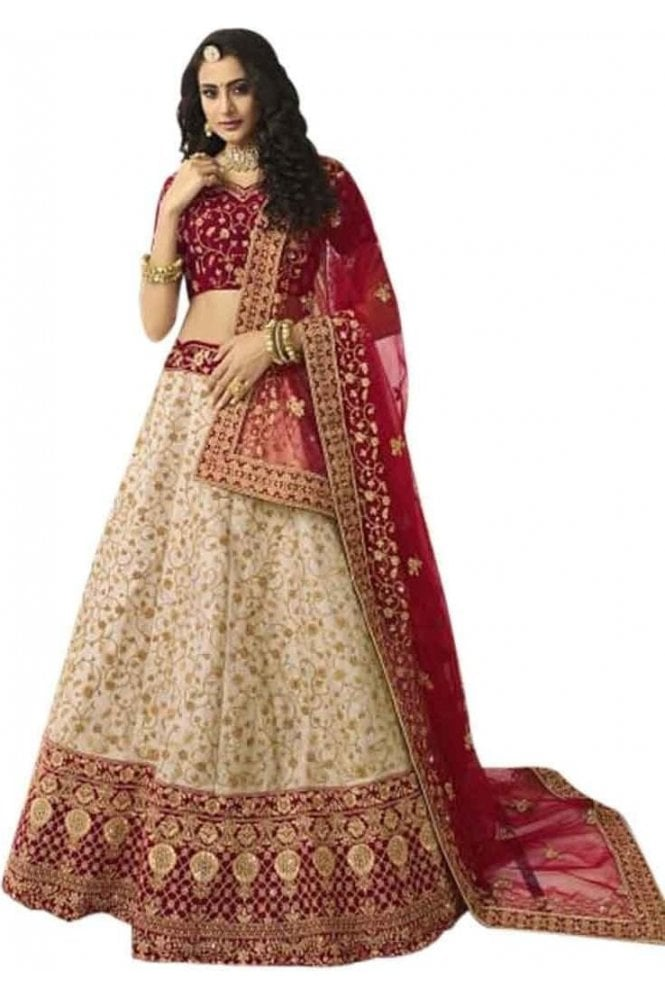 Krishna Sarees WBL20005 Exquisite Red and Gold Bridal / Party Wear Lengha (Semi- Stitched)