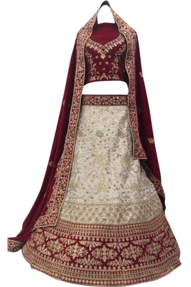 Krishna Sarees WBL20027 Exquisite Cream and Red Bridal / Party Wear Lengha (Semi- Stitched)