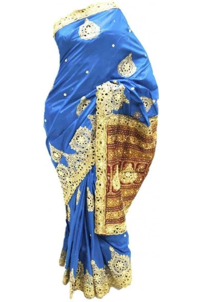 DSS20027 Blue and Maroon Faux Silk Saree