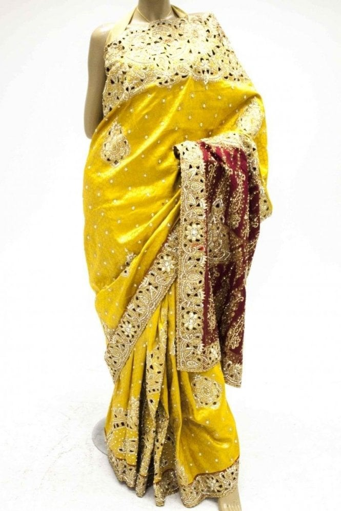 DSS20029 Yellow and Maroon Faux Silk Saree