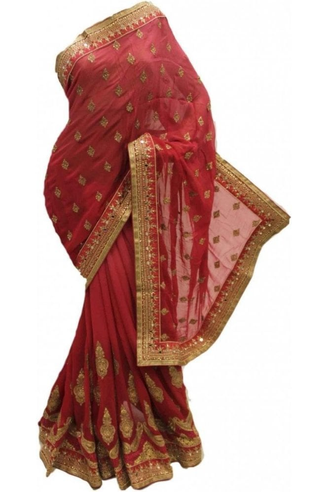 DSS20065 Pink  and Red Faux Chiffon Saree