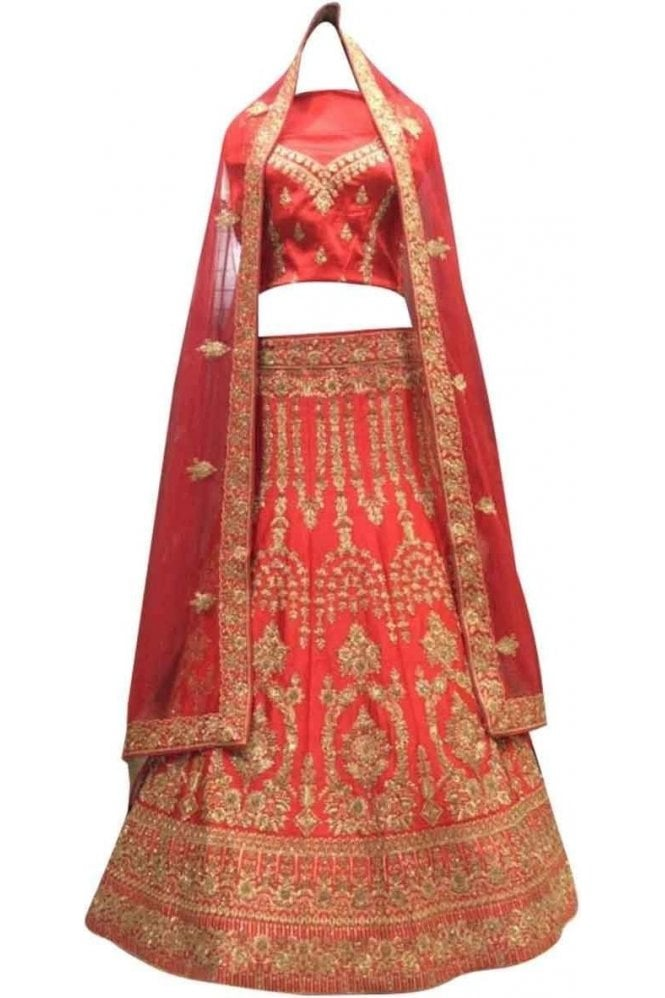 Krishna Sarees WBL20039 Gorgeous  Red and Gold Bridal / Party Wear Lengha (Semi- Stitched)