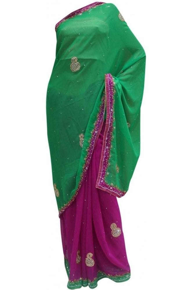 Exquisite Green and Purple Georgette Party Saree