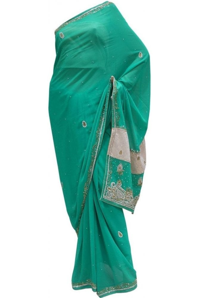 Krishna Sarees DES20028 Eye Catching Green & Silver / Gold Party Saree