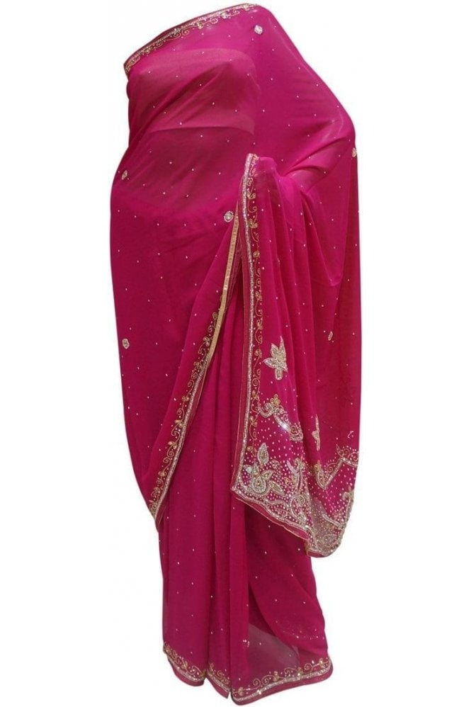 Krishna Sarees DES20035 Lovely Pink & Silver / Gold Party Saree