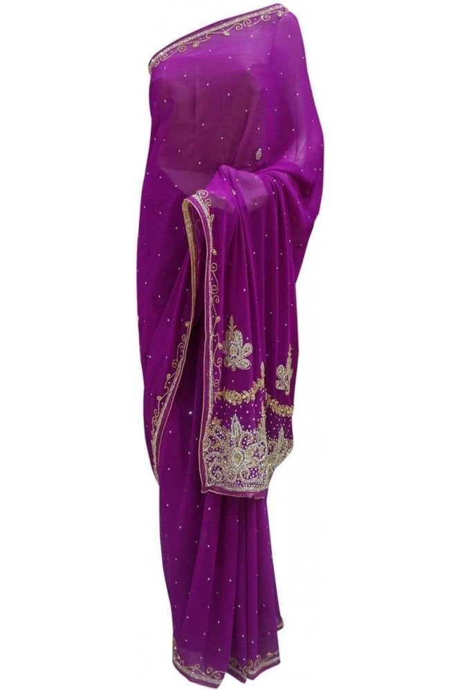 Krishna Sarees DES20045 Beautiful Purple & Gold Party Saree