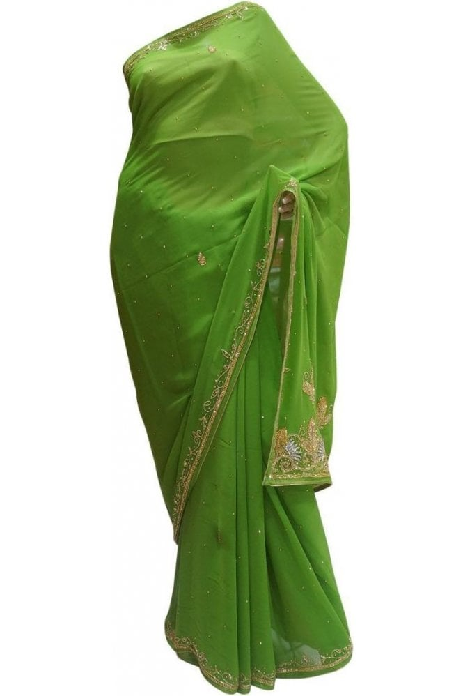 Fancy Green and Gold Georgette Party Saree