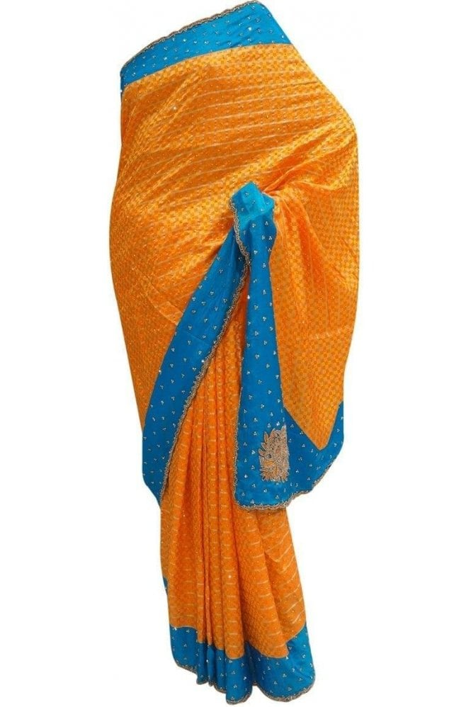 Krishna Sarees DES20065 Stunning Orange & Blue Party Saree